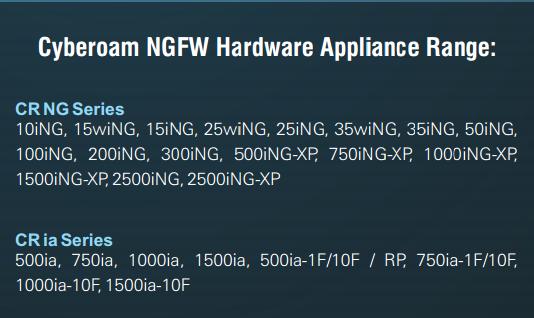 Cyberoam NGFW , CR NG Series, CR ia series